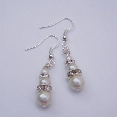 Full Sparkle Triple Bead Dangle Earrings